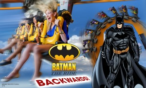 Six Flags Great Adventure Inverted Batman Backwards