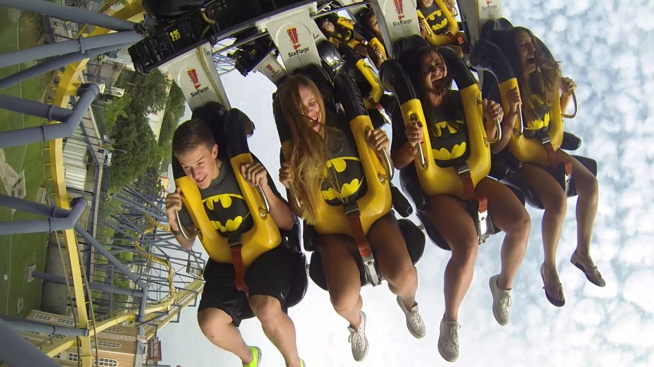 Six Flags NJ New Batman the Ride Backwards